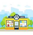 cartoon pet shop building vector image vector image