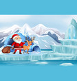 christmas scene with santa and reindeer vector image vector image