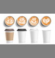 coffee cups art top view plastic paper vector image vector image