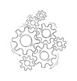 cooperation concept hand drawn cog and gear sketch vector image vector image