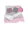 cozy pillows and a blanket good night vector image