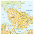 detailed street map downtown vancouver canada vector image vector image