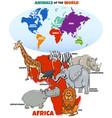 educational cartoon african animals vector image vector image