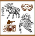 elk hunting hunting logo hunting dog with a wild vector image vector image