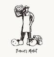 farmer fresh food vegetables market eco vector image vector image
