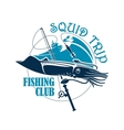 Fishing club icon for squid catch trip vector image vector image