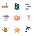 flat icon nature set of hippocampus periscope vector image vector image