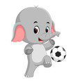 funny elephant playing football cartoon vector image vector image