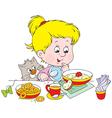 girl at breakfast vector image vector image