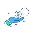 hand dollar coin icon design vector image
