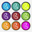 handset icon sign Nine multi colored round buttons vector image vector image