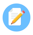 Handwritten Document Flat Design icon vector image vector image