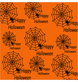 happy halloween a pattern of spider webs with vector image