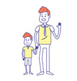 happy man with his son holding hand vector image vector image