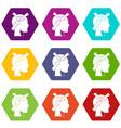 head with arrows icon set color hexahedron vector image vector image