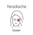 headache linear icon girl vector image vector image