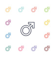 male symbol flat icons set vector image vector image