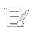 manuscript paper with feather pen line icon vector image vector image