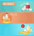 milk products horizontal banners set vector image vector image