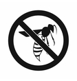 No wasp sign icon simple style vector image vector image