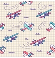 Pattern airplanes in vintage style vector image vector image