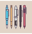pen ballpoint pencil set outline thin vector image vector image