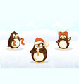 penguins hipster animals with santa stockings hat vector image vector image