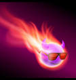 purple burning ball with horns vector image