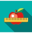 Red apple with measuring tape icon flat style vector image