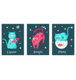 set cat astrology zodiac sign cards vector image