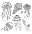 set jellyfishes in ethnic boho style vector image vector image