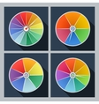 Set of four icons with color circles vector image