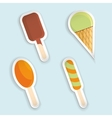 Set of ice-cream paper stickers vector image