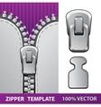 Silver zipper realistic vector image
