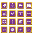 surfing icons set purple vector image vector image