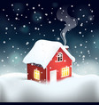 swedish red wooden mansion with snow covered roof vector image