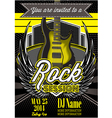 template for a rock concert with guitar vector image vector image