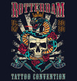 vintage tattoo festival colorful poster vector image vector image