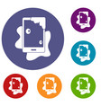 wet phone icons set vector image vector image