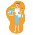 woman with multicolored shopping bags and gift box vector image vector image