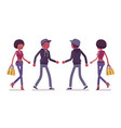 young black man and woman walking vector image