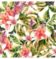 Watercolor seamless pattern tropical green vector image