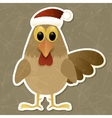 Rooster in Santa hat Vintage background vector image