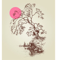 A tree by the lake or river and a pink full moon vector image vector image