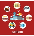 Airport and flight service flat concept vector image vector image