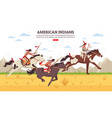 american indians cartoon background vector image