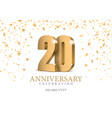anniversary 20 gold 3d numbers vector image vector image