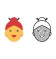 asian woman avatar icon set happy face symbol vector image