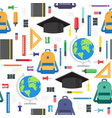 back to school seamless pattern with school vector image
