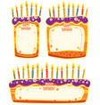banners in shape of birthday cakes with place for vector image vector image